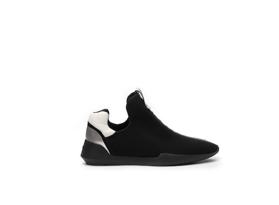 Black micro-mesh slip-on shoe with a transparent sole