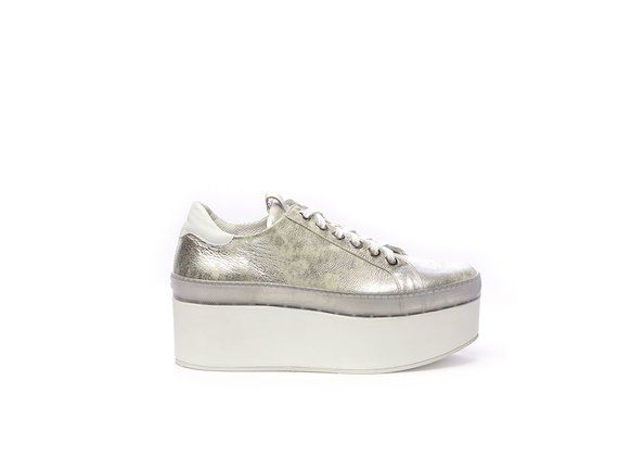 Silver leather Derby shoe with a flatform sole - Silver