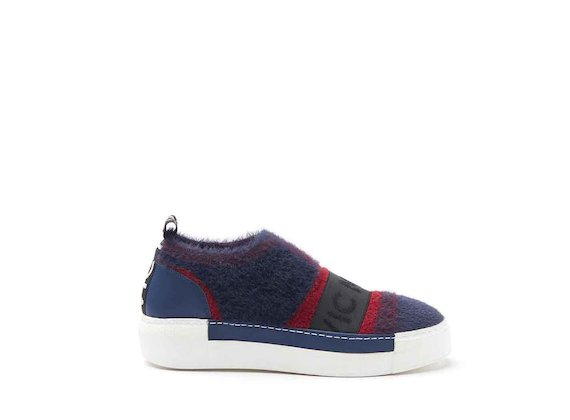 Red/navy blue mesh slip-on shoes with sneaker sole