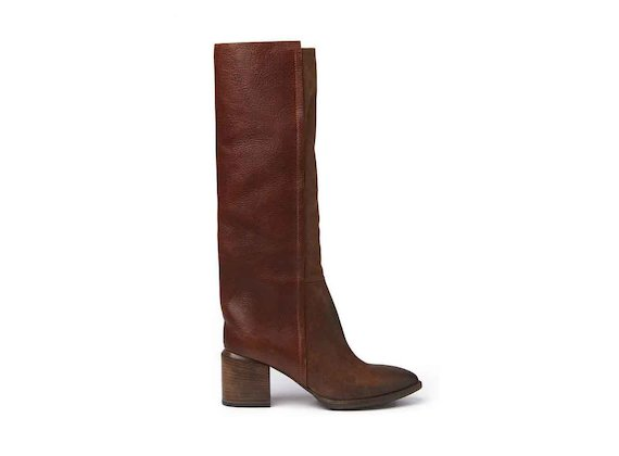 Cognac-coloured crust leather and leather stove pipe boots with a leather-covered heel
