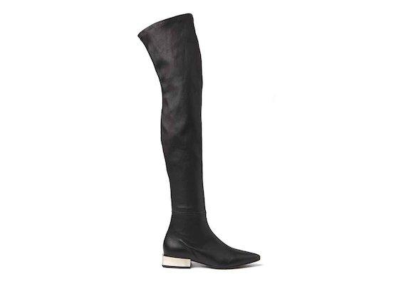 Overknee-Stiefel aus Stretchleder mit eckigem Metallic-Absatz