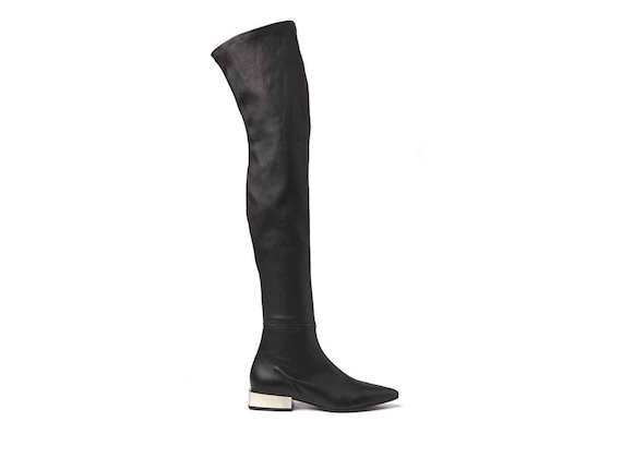 Stretch leather thigh-high boots with metallic block heel
