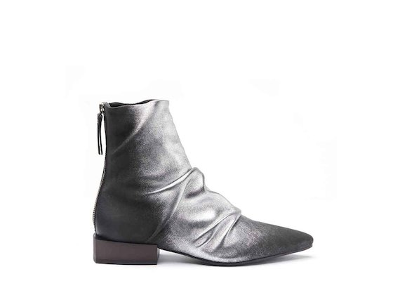 Slouch ankle boots with metallic coating