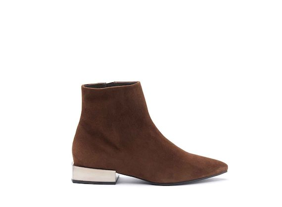 Cognac-coloured suede heeled ankle boots with metallic gold heel