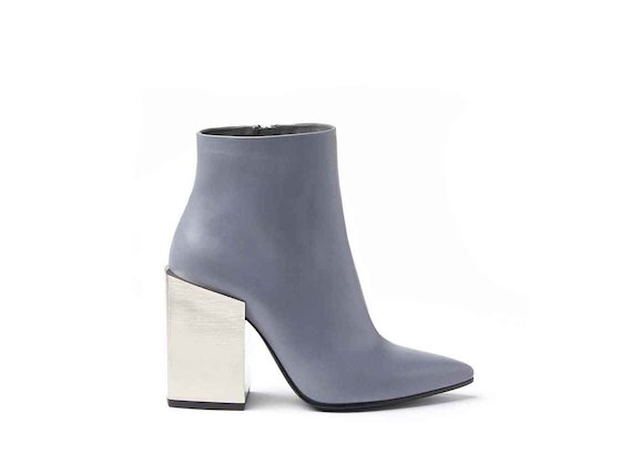 Powder blue leather heeled ankle boots with metallic block heel