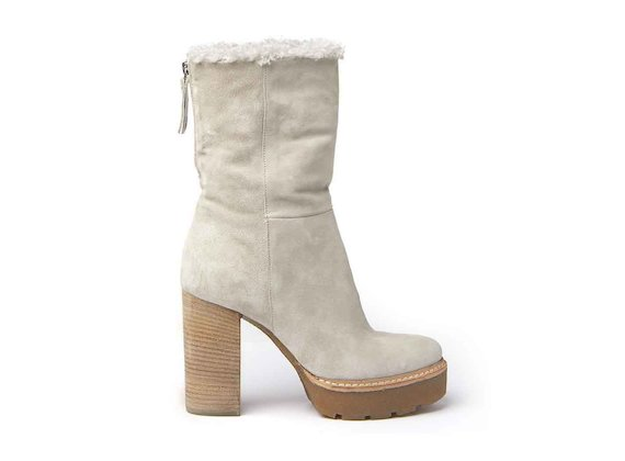 Suede and sheepskin ankle boots with crepe platform and leather-covered heel