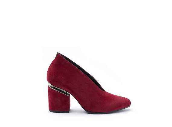 Red suede court shoes with suspended heel