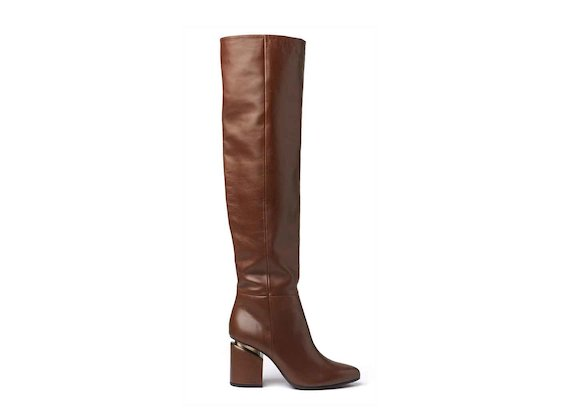 Cognac-coloured leather stove pipe boots with suspended heel