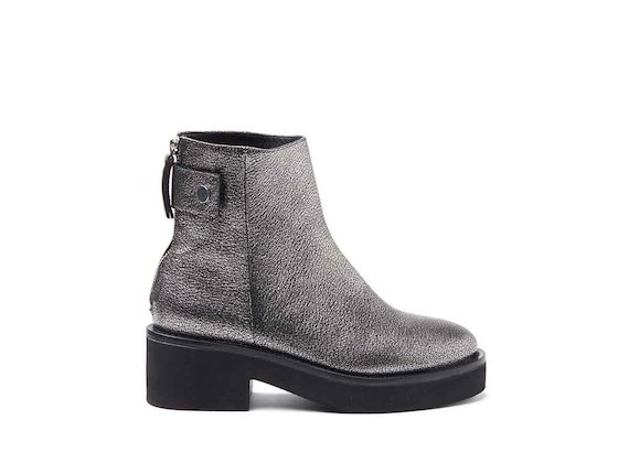 Metallic silver leather heeled ankle boots with press-stud and rubber sole