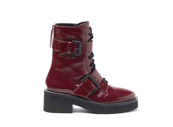 Burgundy naplak military boots with buckles and rubber sole