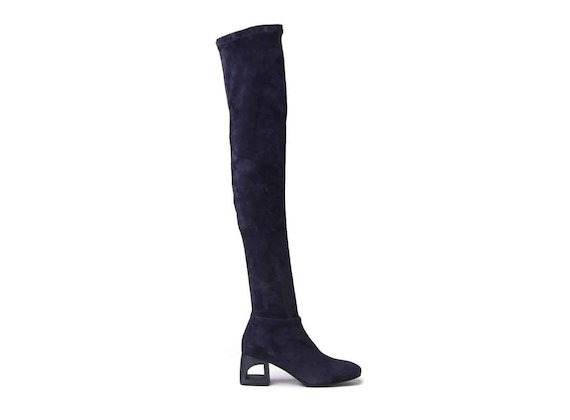Navy blue suede thigh-high boots with perforated heel