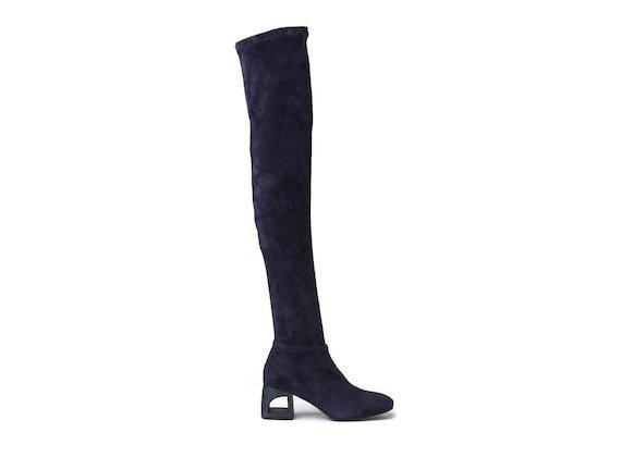 Overknee-Stiefel aus marineblauem Veloursleder mit Cut-out-Absatz