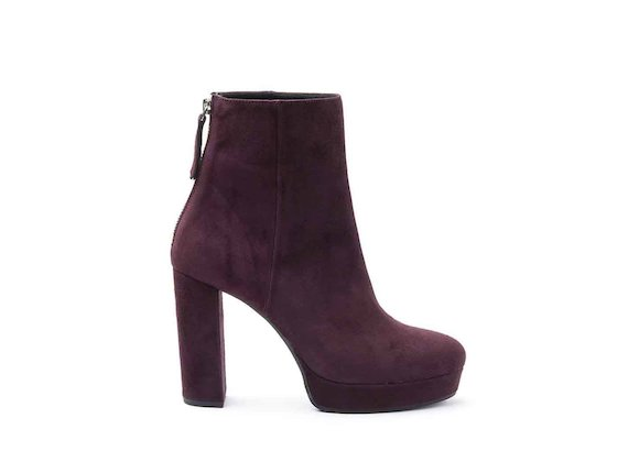 Burgundy suede heeled ankle boots with suede-covered platform and heel