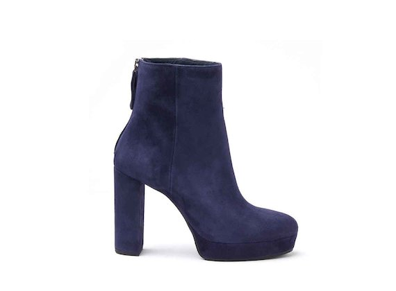 Navy blue suede heeled ankle boots with suede-covered platform and heel