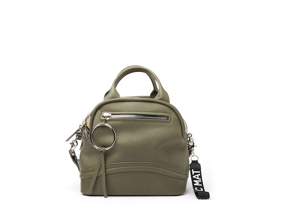 Elenoire<br />Military green bowler bag with snakeskin-effect top
