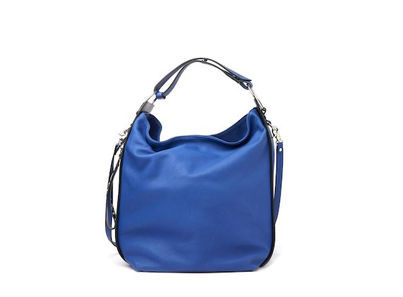 Tara<br />Cornflower blue bucket bag with rings