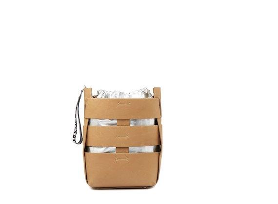 Altea<br />Cut-out leather and silver bucket bag