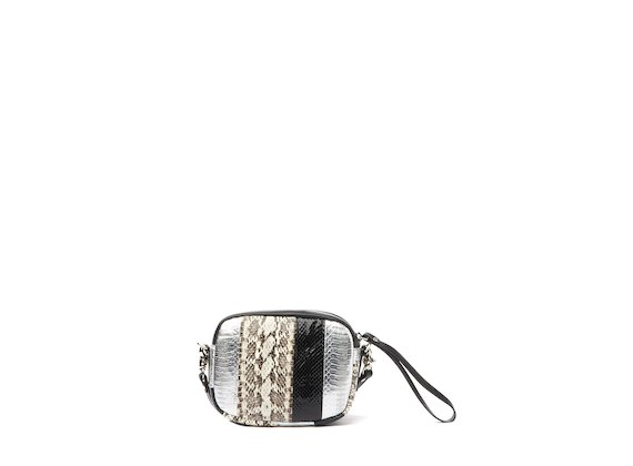 Guenda<br />Silver and ice patchwork mini bag