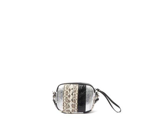 Guenda<br />Mini-bag patchwork ghiaccio argento
