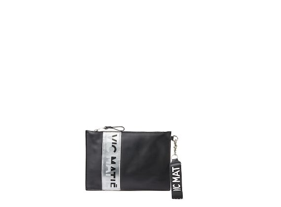 Madeline<br />Black clutch with silver logo