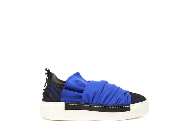 Mesh sneaker with cornflower blue draped fabric strips