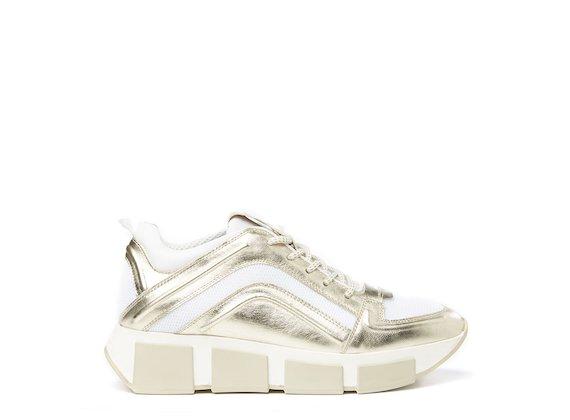 Gold running shoe