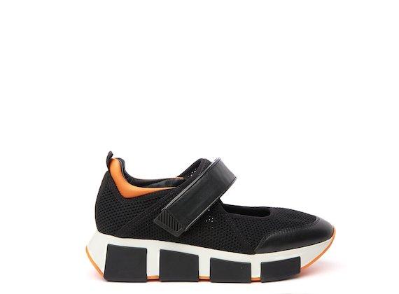 Black/orange mesh baby running shoe