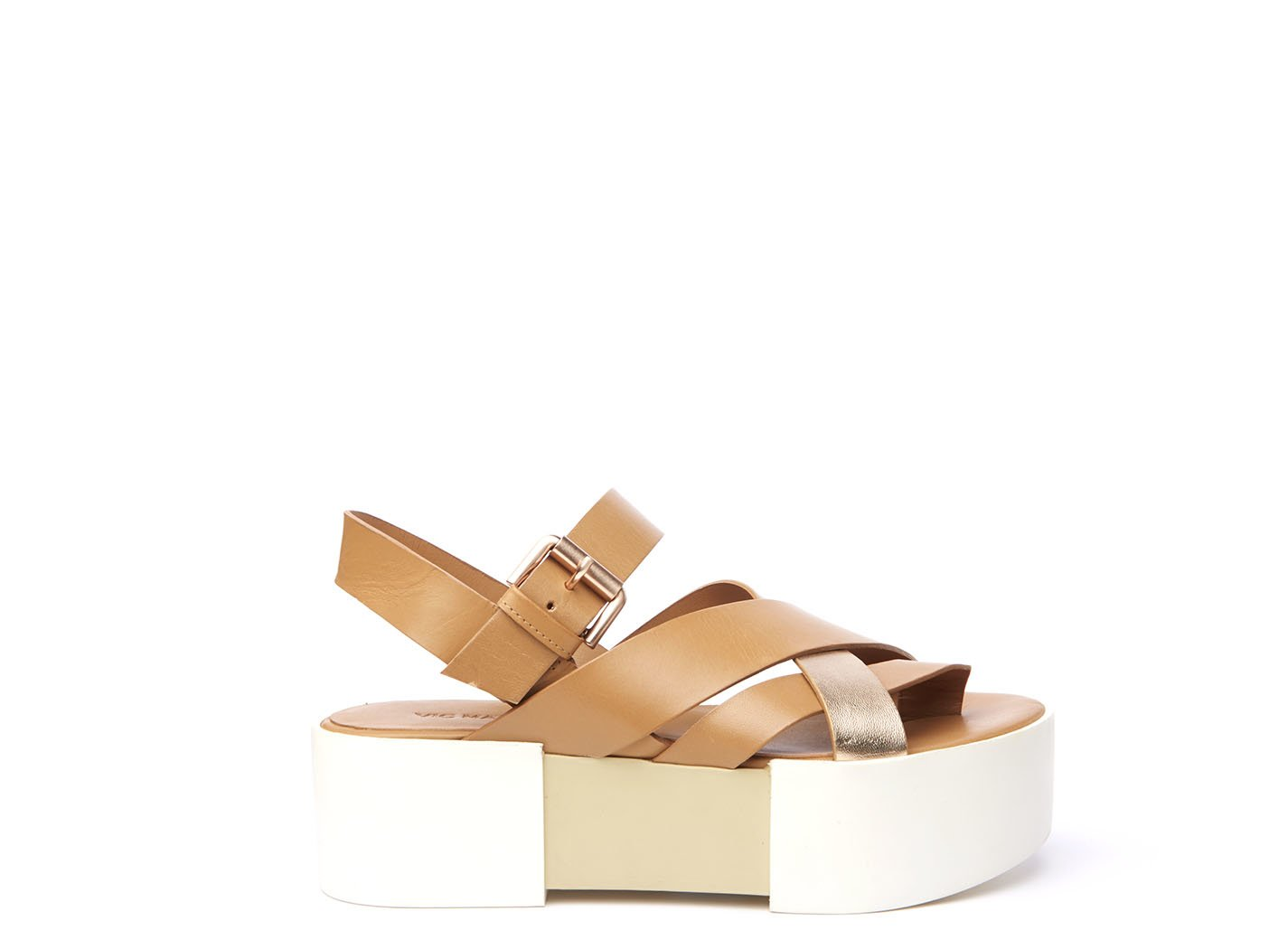 Sandal with braided leather bands