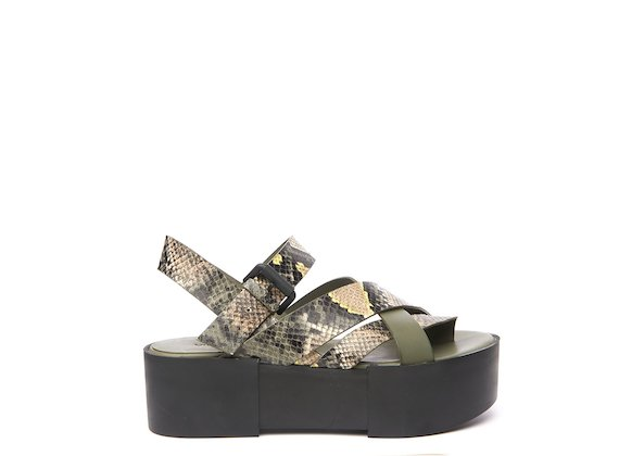 Sandal with military green snakeskin-effect braided bands