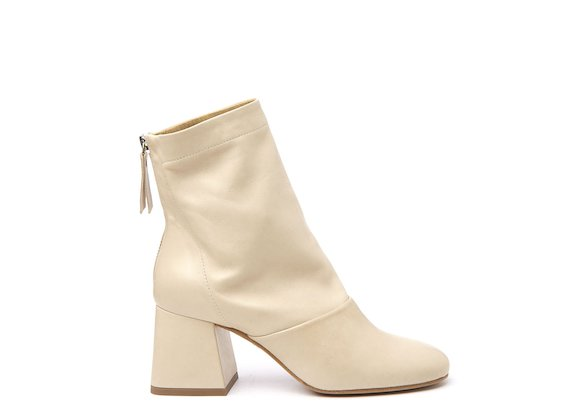 Ivory ankle boot with flared heel