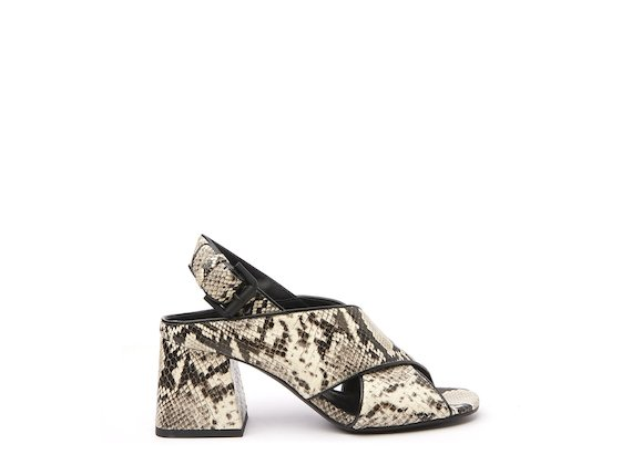 Snakeskin-effect sandal with flared heel