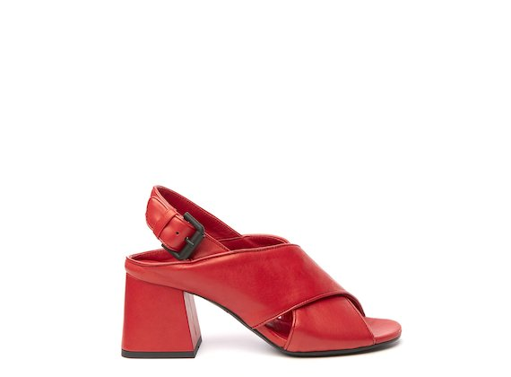 Red sandal with cross-over straps and flared heel