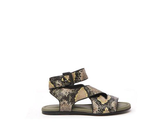 Snakeskin-effect flat sandal