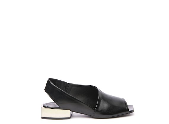 Black peep-toe sandal with open heel