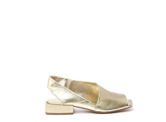 Gold peep-toe sandal with open heel