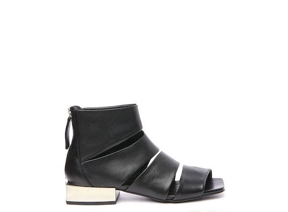 Peep-toe ankle boot with asymmetric bands