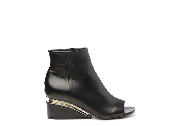 Black peep-toe ankle boot with suspended heel