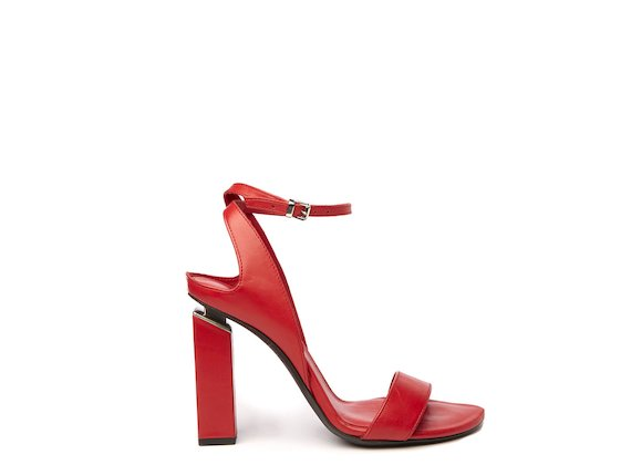 Red high-heeled sandal with suspended heel