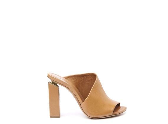 Leather high asymmetric mule with suspended heel