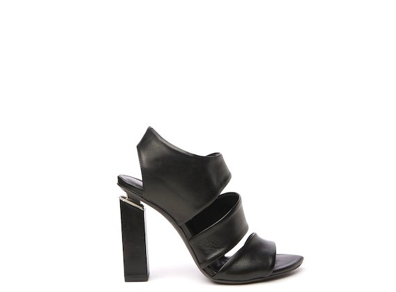 Black sandal with asymmetric bands and suspended heel