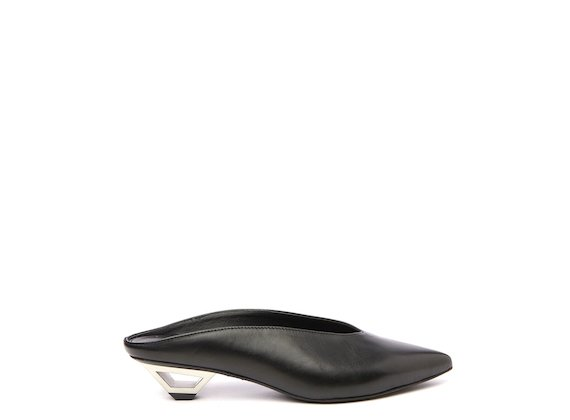 Black mule with hollow metal heel