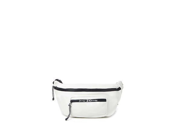 Andrea<br>White maxi bum bag and mini backpack