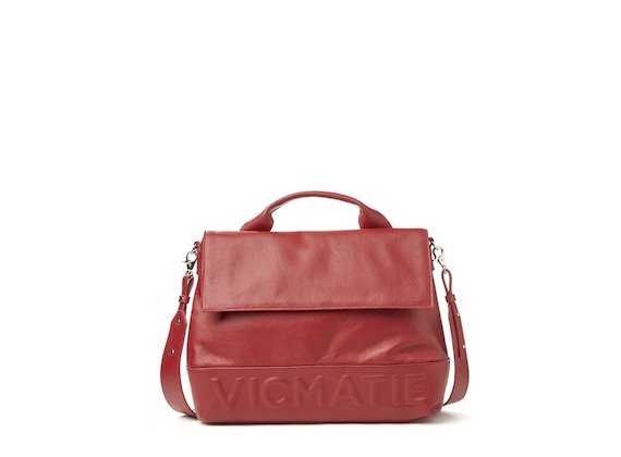 Nora<br>Red 3D logo satchel