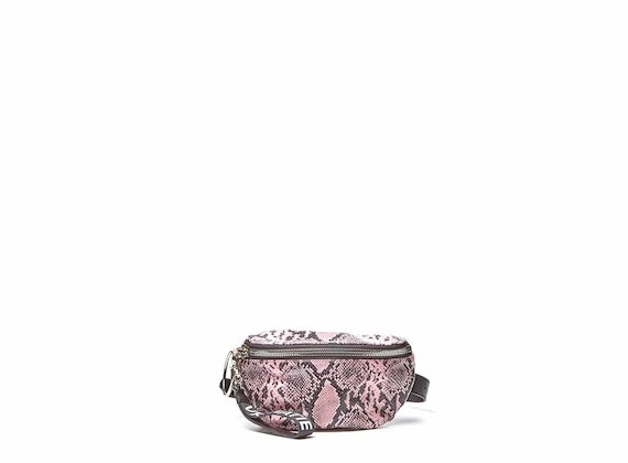 Ginger<br />Pink snakeskin-effect bumbag with large metal zip
