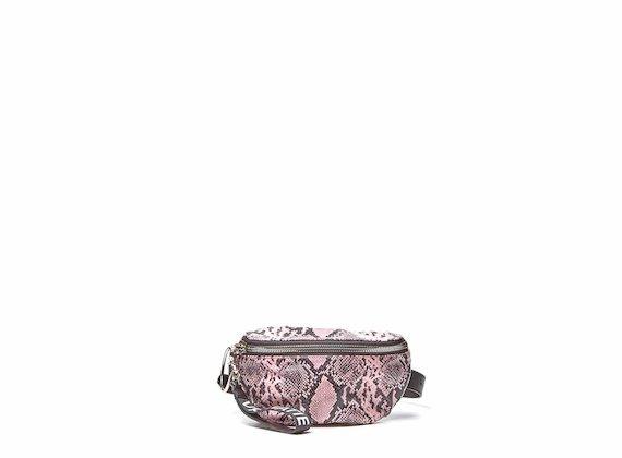 Ginger<br />Marsupio effetto rettile rosa con maxi zip metallica
