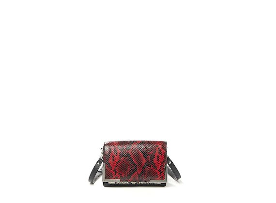 Talita<br>Mini bag con patta effetto rettile rossa