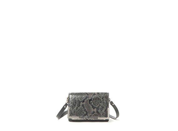 Talita<br>Mini bag with anthracite snakeskin-effect flap