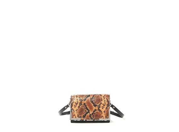 Talita<br>Mini bag with cognac snakeskin-effect flap