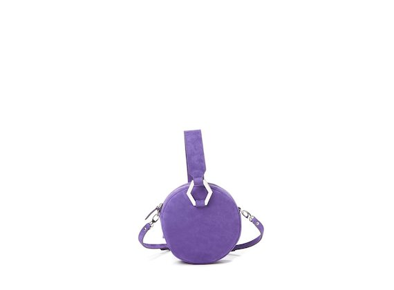 Rania<br>Mini bag rotonda viola con accessorio metallico