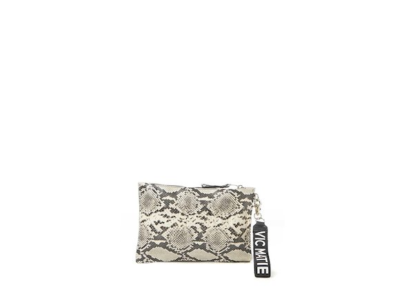 Madeline<br>Rock snakeskin-effect clutch